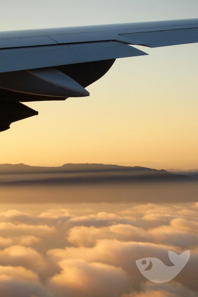 Sonnenuntergang über den Wolken auf unserer Rückreise
